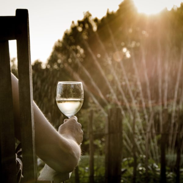 Person sitting outside with a glass of wine