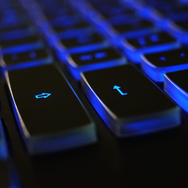 Blue back-lit keyboard