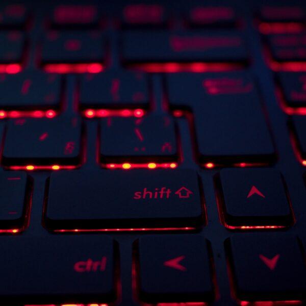 Red backlit black keyboard