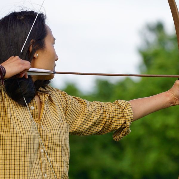 Woman using a bow