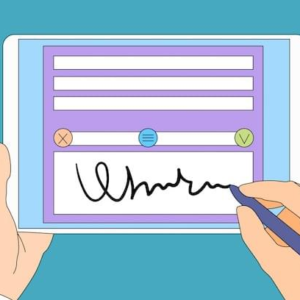 Drawing of signing a document on tablet