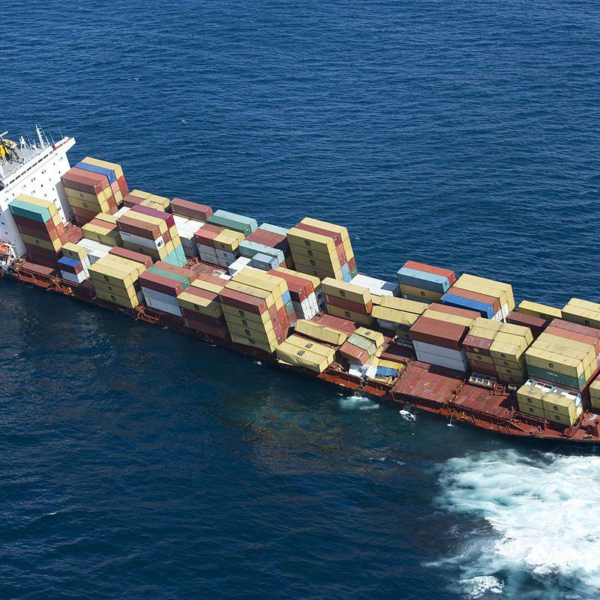 Shipping containers on vessel