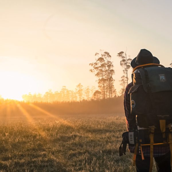 Person wearing a rucksack staring into the sunset