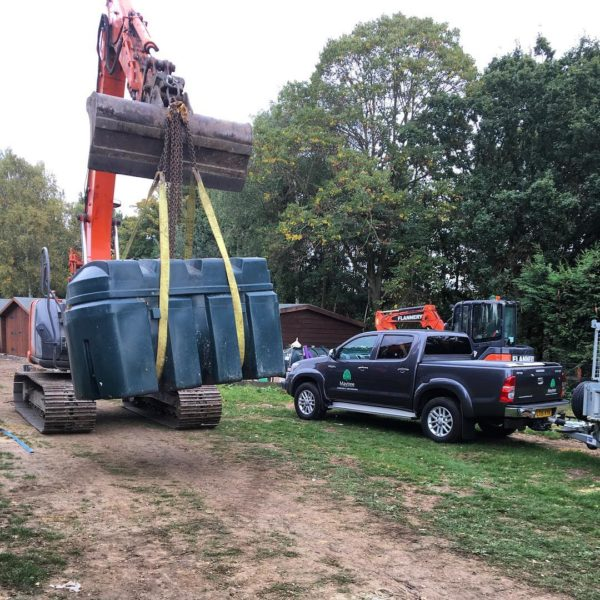 Bunded tank being lifted