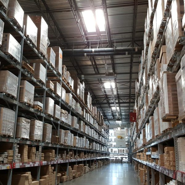 Boxes on shelves in a warehouse
