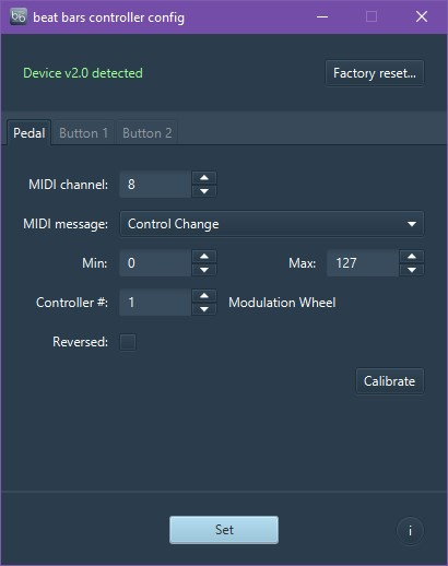 Screenshot of beat bars controller config for Windows with EX3 connected