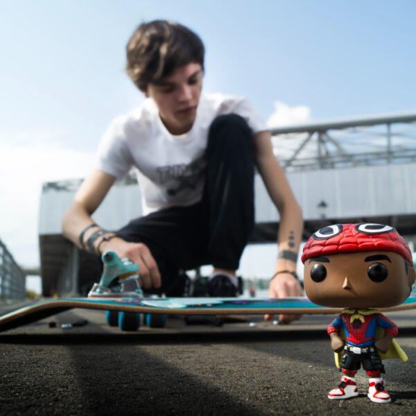 Funko Spider-Man and skateboard