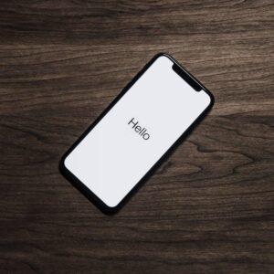 'Hello' message on smartphone