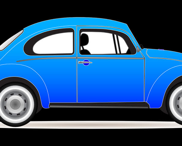 Drawing of a blue VW Beetle car