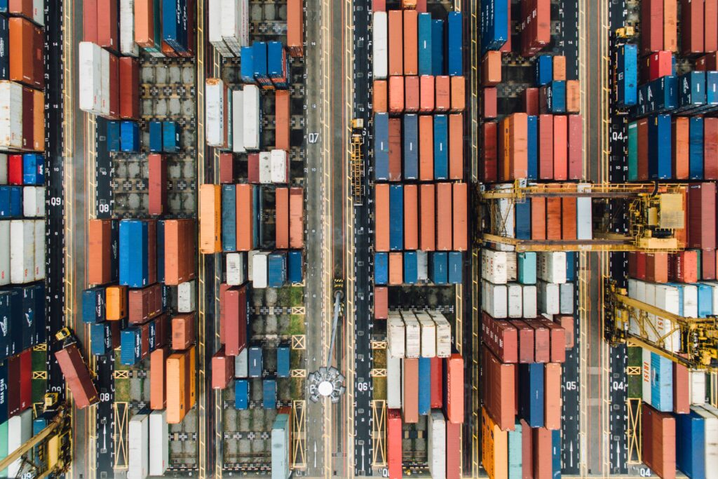 Shipping containers in a port
