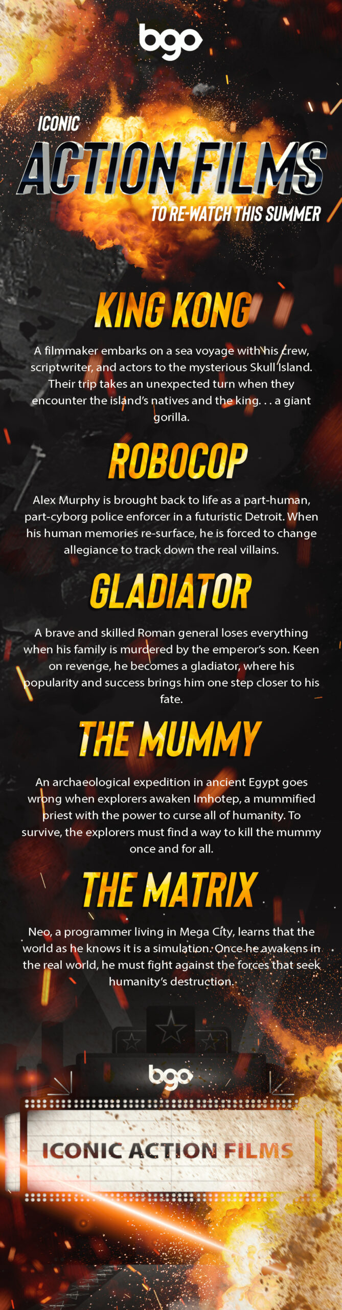 Iconic Action Films to Re-watch this Summer infographic