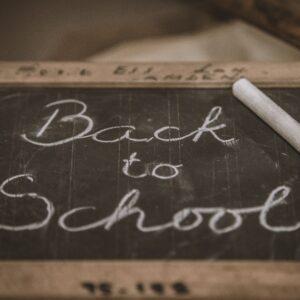 'Back to School' written on a chalkboard
