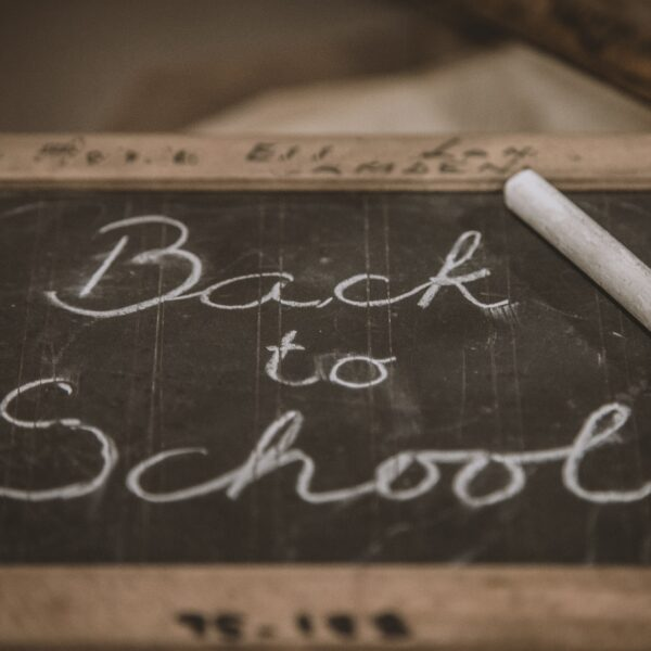 'Back to School' written on a chalkboard