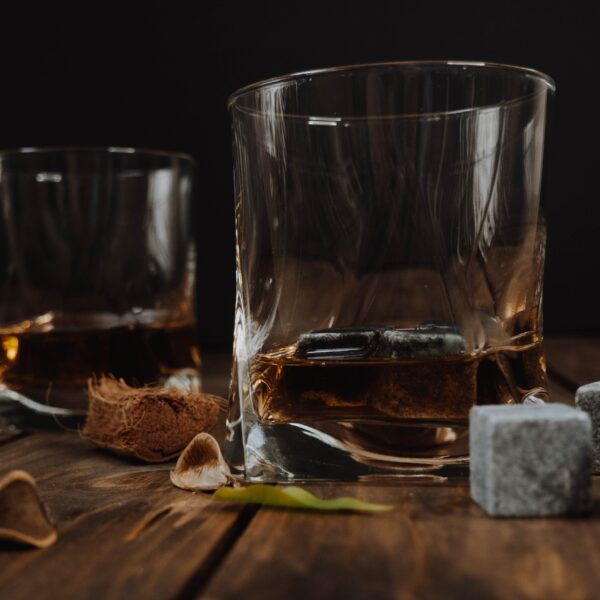 Whiskey in tumblers with whiskey stones