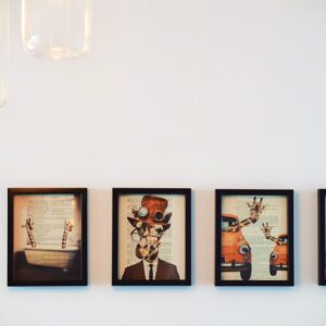 Four paintings on a wall