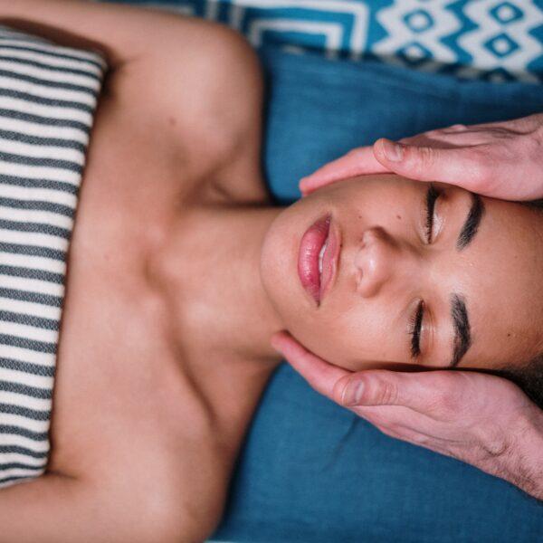 Woman receiving a face massage