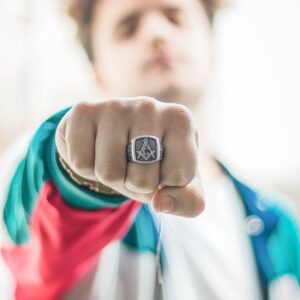 Man wearing a Masonic ring