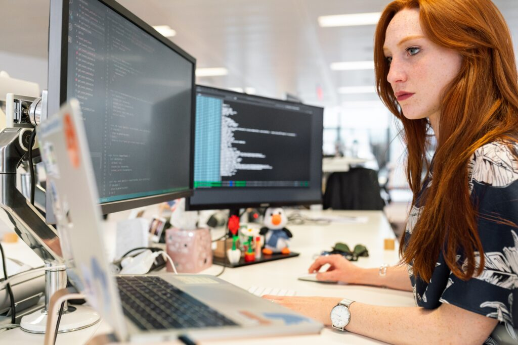 Woman using Visual Studio Code
