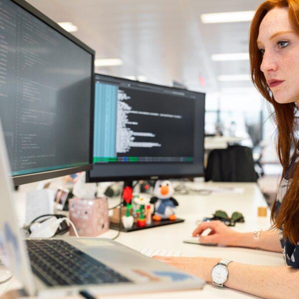 Woman using Visual Studio Code