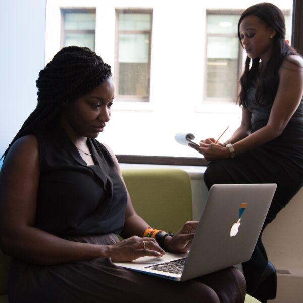 Woman using a laptop
