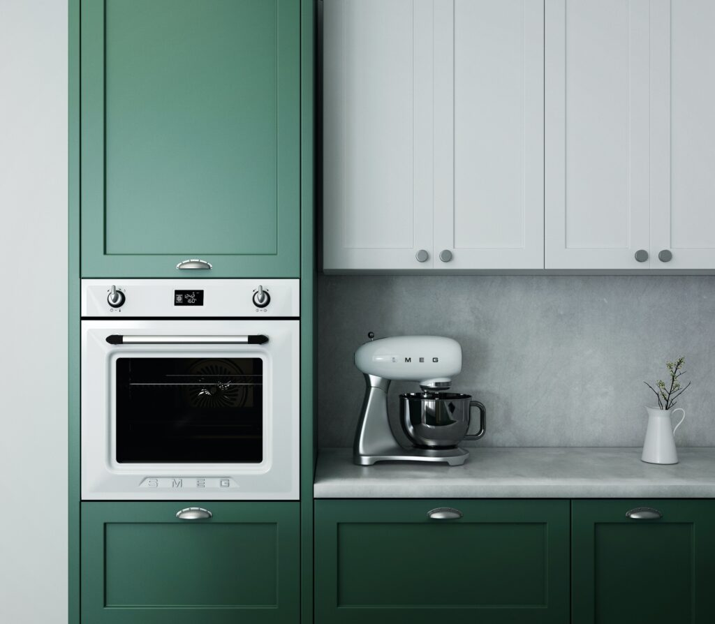 Kitchen with green cabinets