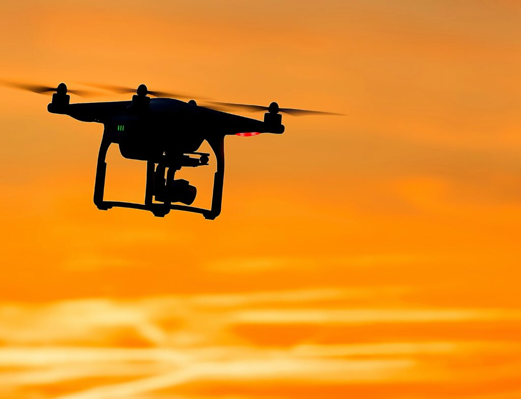 Silhouette of a drone