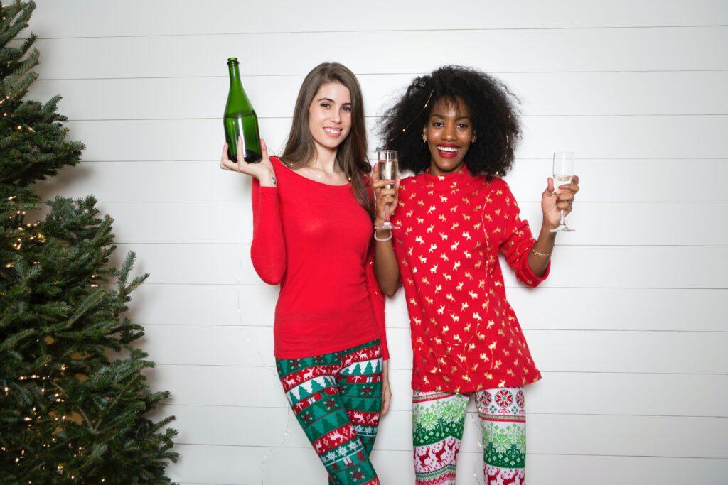 Two women dressed festively