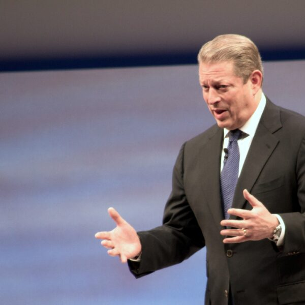 Al Gore gives a keynote address on sustainability at SapphireNow 2010 in May 2010