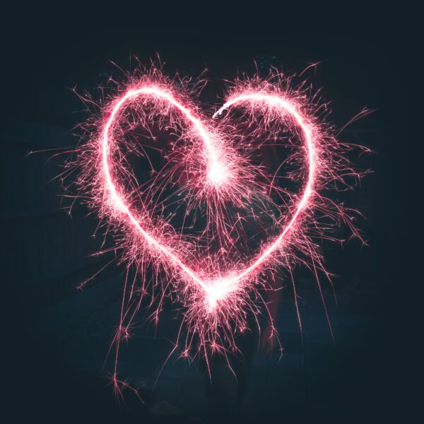 Heart drawn using pink sparkler