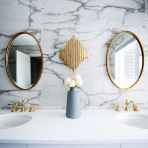 Bathroom mirrors and sinks