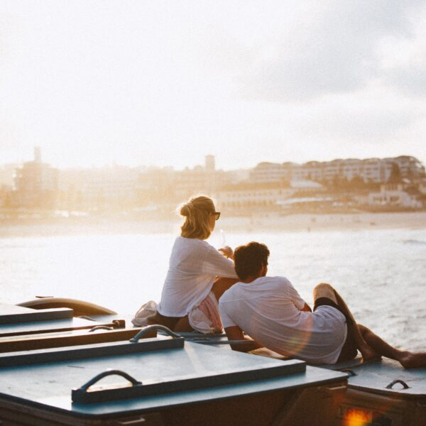 Couple on a boat in Sydney, Australia