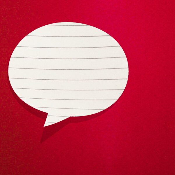 Speech bubble made from lined paper