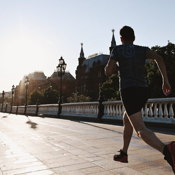Man running in Moscow