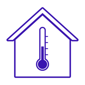 Drawing of a house with a thermometer in the middle