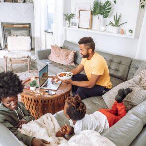 Family spending time in living room