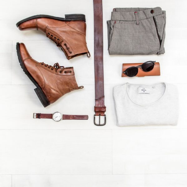 Men's shoes, watch, belt, shirt, trousers and sunglasses