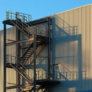 Steel sidings on building