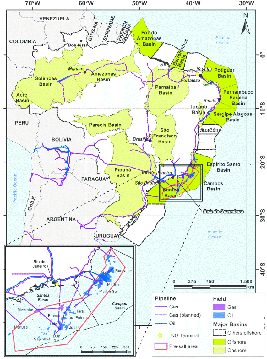 Map showing onshore and offshore Brazilian Basins for natural gas and oil reserves in the Santos and Campos Basin used for pre-salt oil extractions