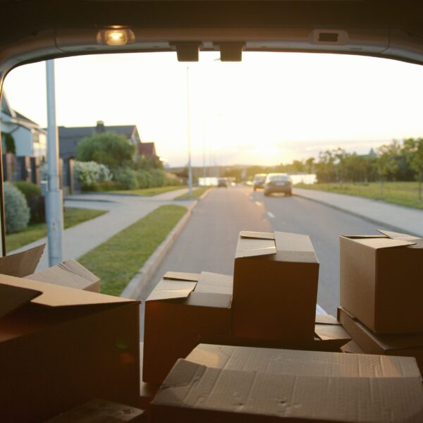 Boxes in a moving van