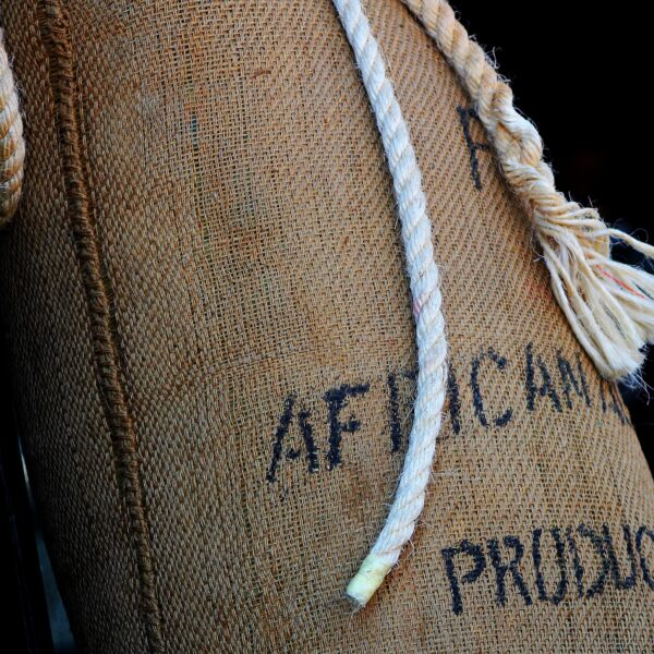 Sack of African coffee beans