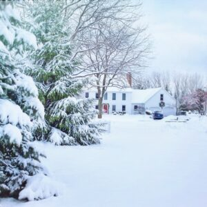 A house surrounded by snow with trees in the foreground