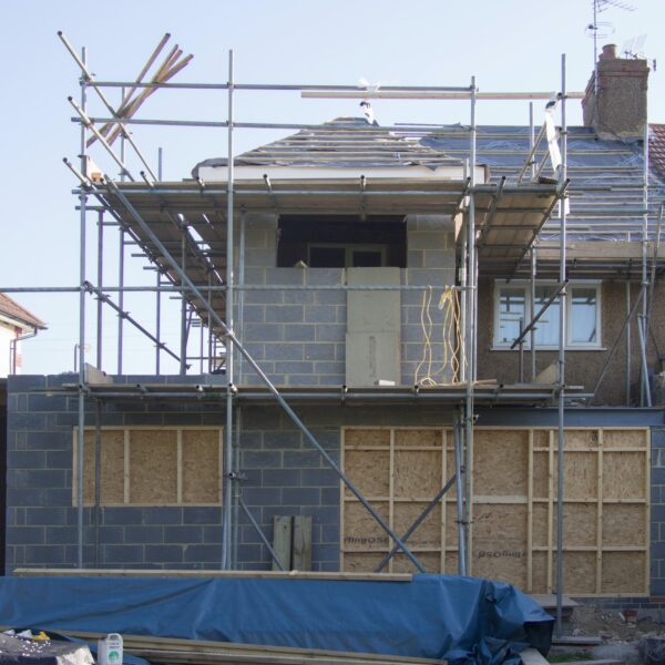 House extension with scaffolding