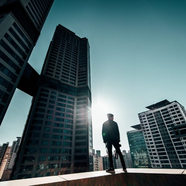 Man standing on a rooftop