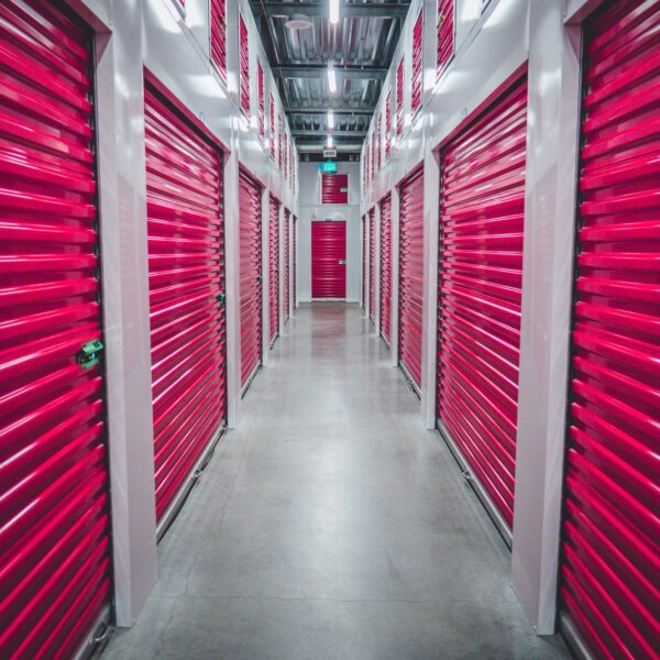 Storage units with red shutters