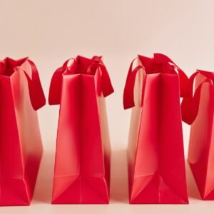 Four red gift bags
