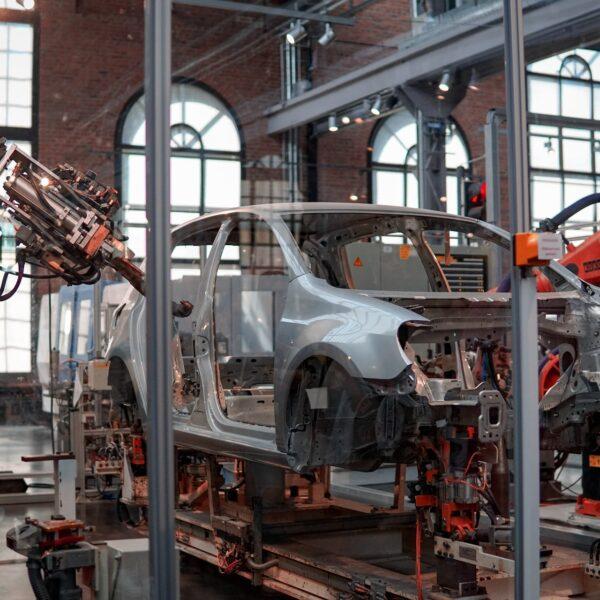 Robots manufacturing a car