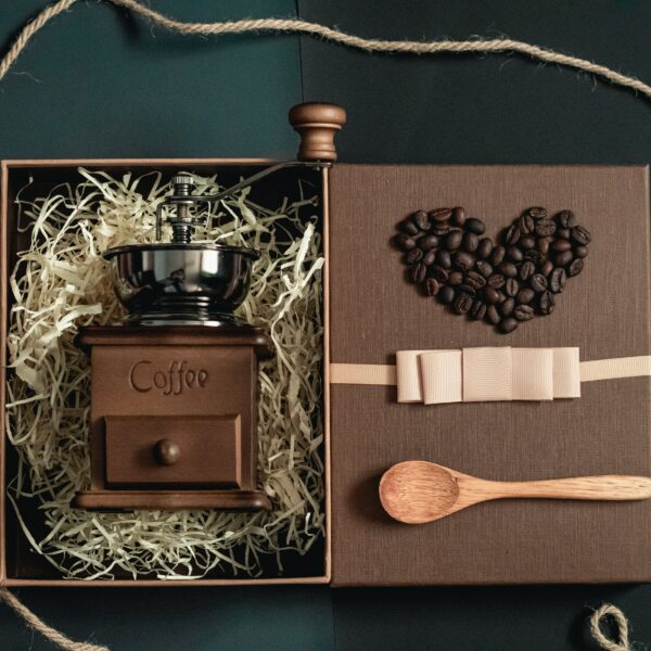 Manual coffee grinder inside a gift box